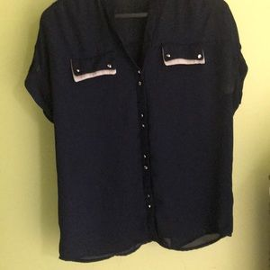 Navy button down blouse with gold buttons
